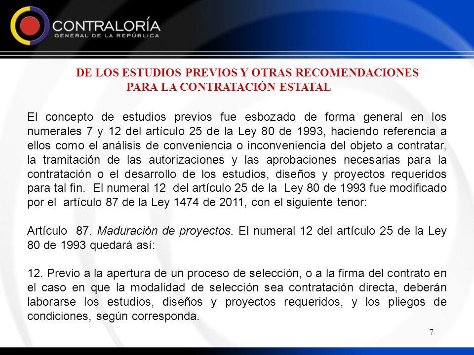 DE LOS ESTUDIOS PREVIOS Y OTRAS RECOMENDACIONES