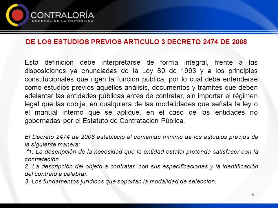 DE LOS ESTUDIOS PREVIOS ARTICULO 3 DECRETO 2474 DE 2008