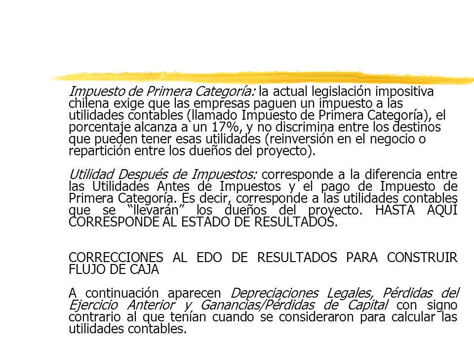 Impuesto de Primera Categoría: la actual legislación impositiva chilena exige que las empresas paguen un impuesto a las utilidades contables (llamado Impuesto de Primera Categoría), el porcentaje alcanza a un 17%, y no discrimina entre los destinos que pueden tener esas utilidades (reinversión en el negocio o repartición entre los dueños del proyecto).