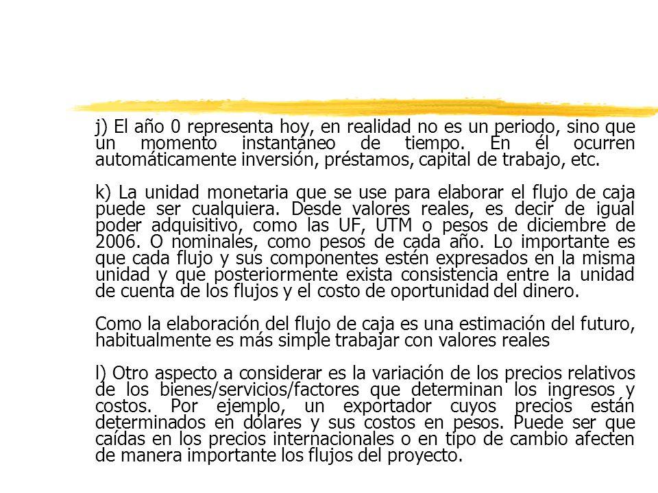 j) El año 0 representa hoy, en realidad no es un periodo, sino que un momento instantáneo de tiempo. En él ocurren automáticamente inversión, préstamos, capital de trabajo, etc.