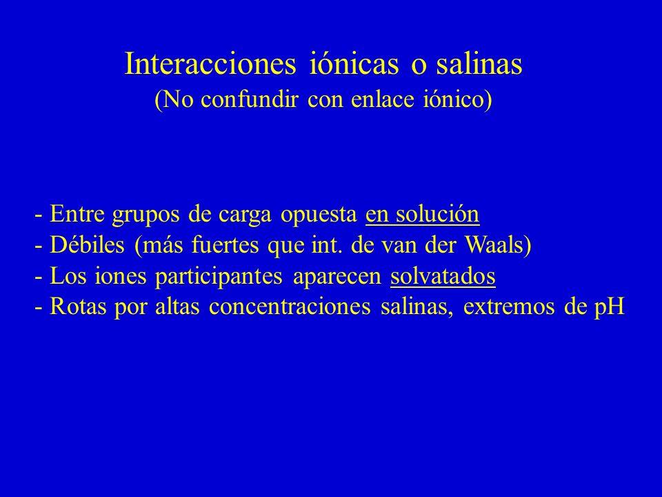 Interacciones iónicas o salinas
