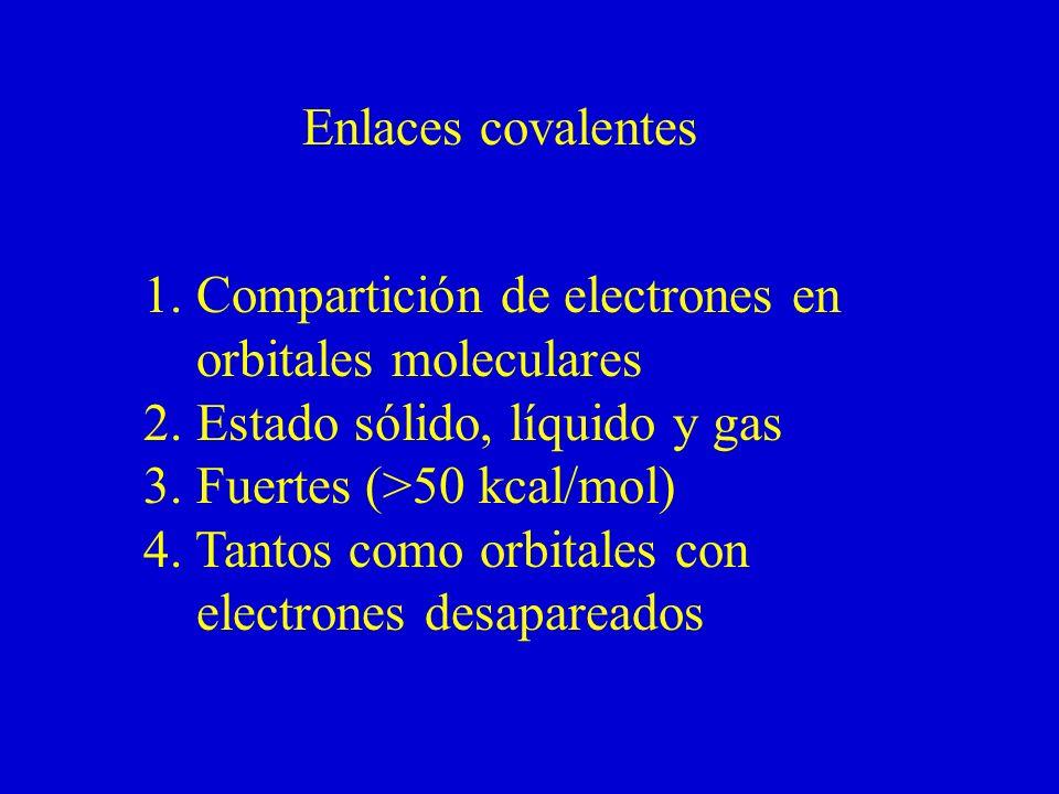 Enlaces covalentes 1. Compartición de electrones en. orbitales moleculares. 2. Estado sólido, líquido y gas.