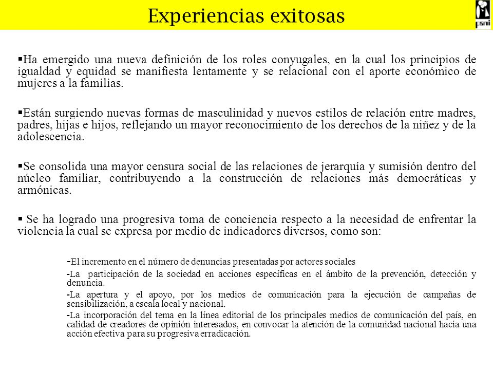 Experiencias exitosas