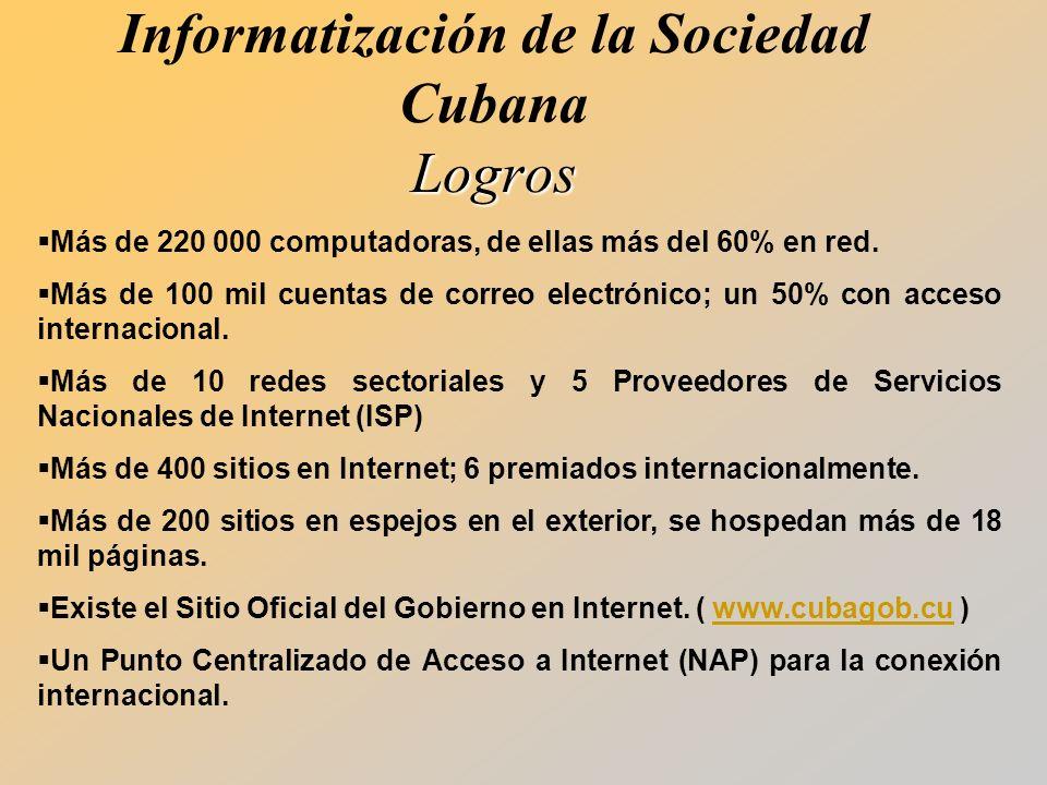 Informatización de la Sociedad Cubana Logros