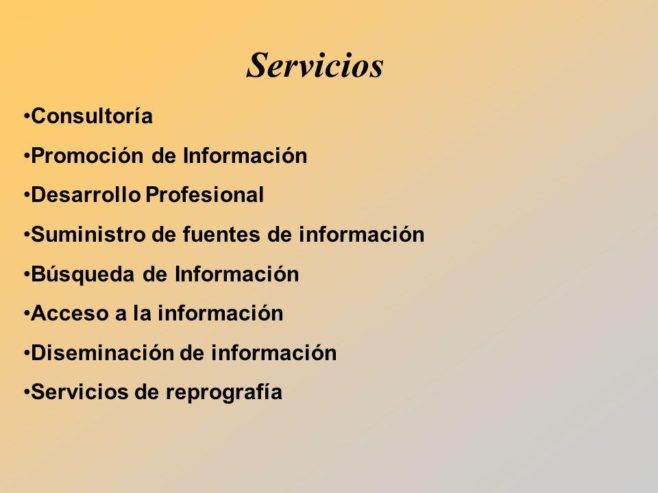 Servicios Consultoría Promoción de Información Desarrollo Profesional