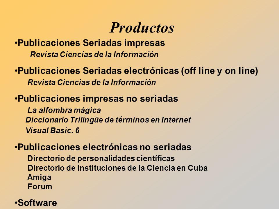 Productos Publicaciones Seriadas impresas Revista Ciencias de la Información.