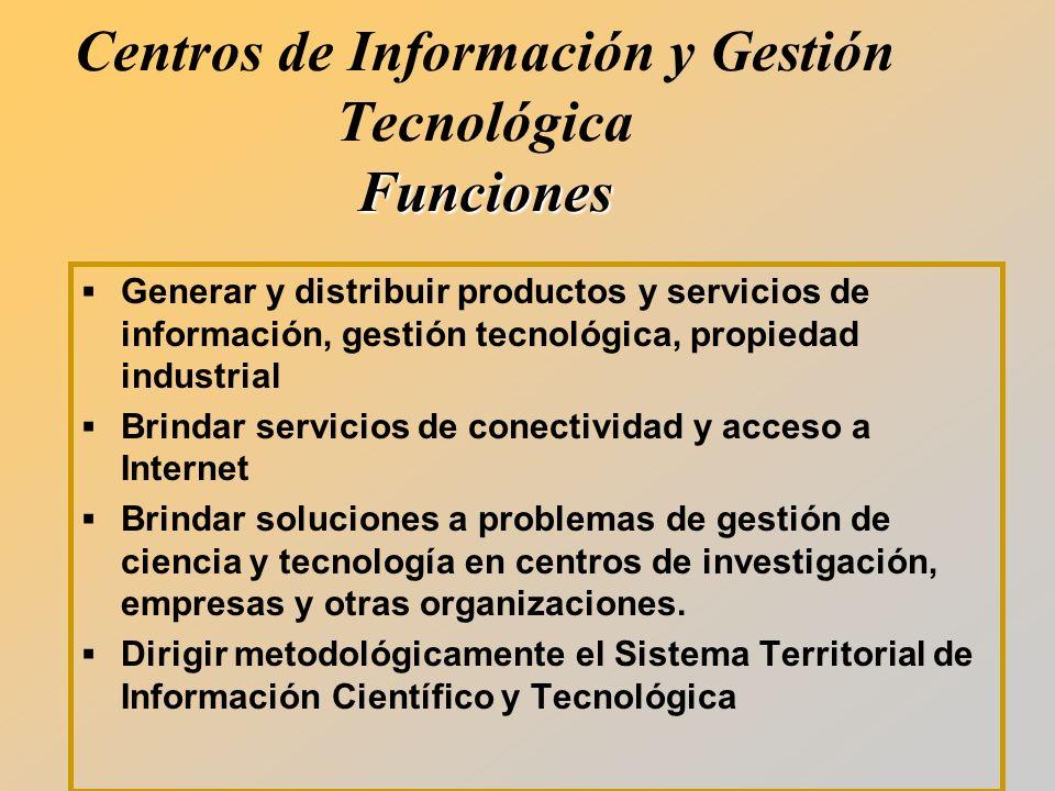 Centros de Información y Gestión Tecnológica Funciones