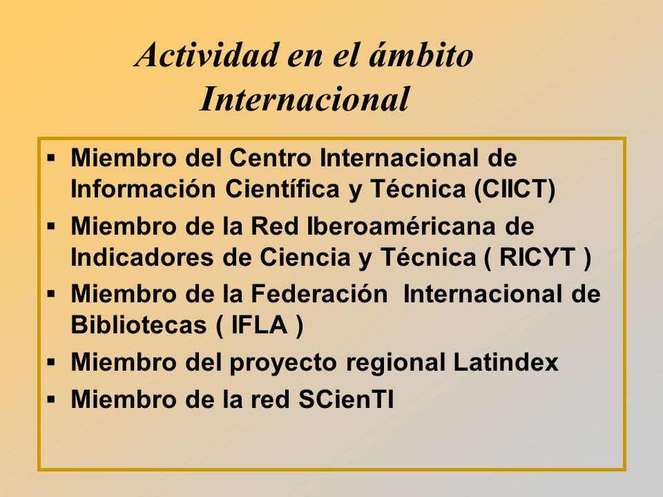 Actividad en el ámbito Internacional