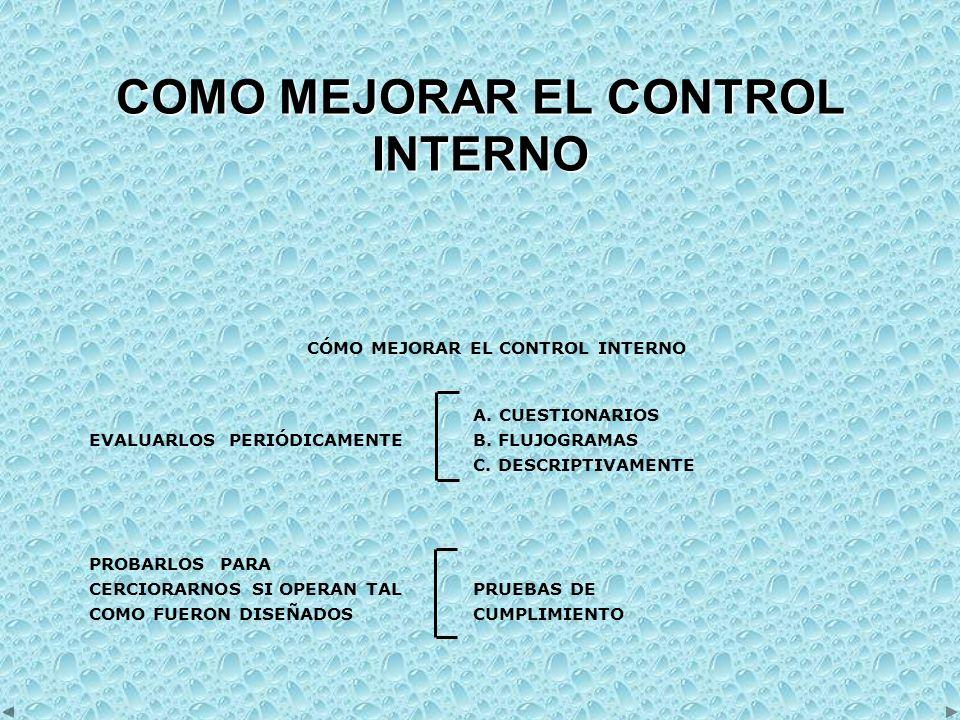 COMO MEJORAR EL CONTROL INTERNO