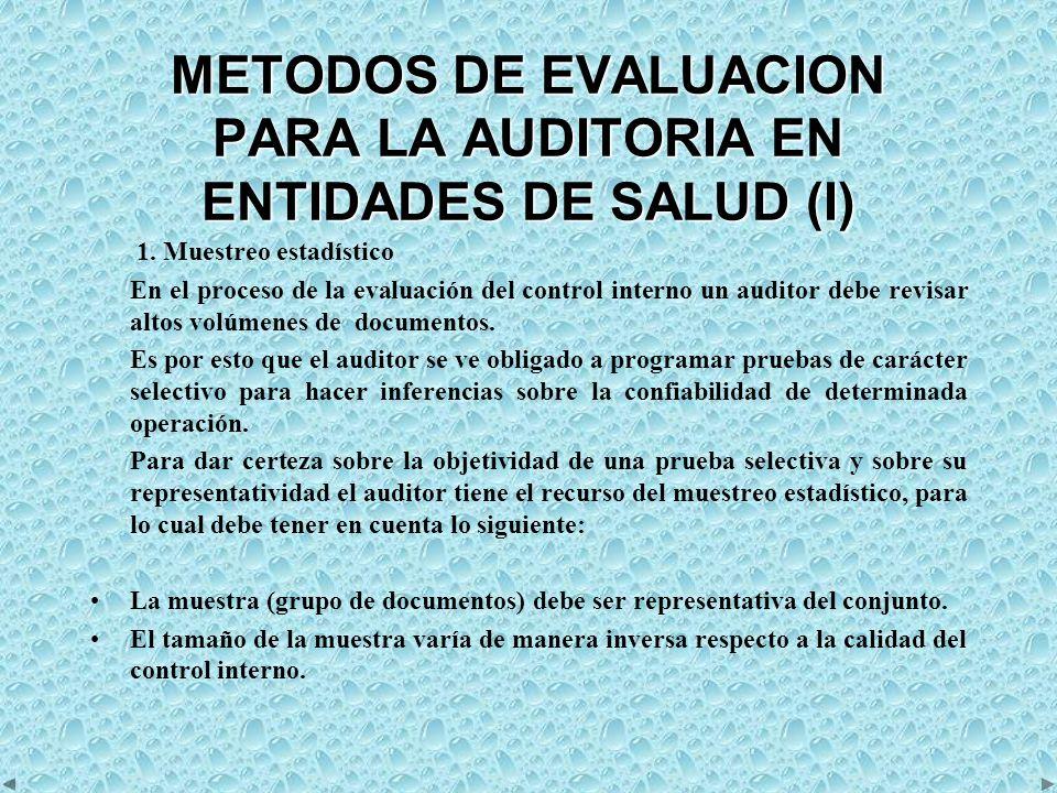 METODOS DE EVALUACION PARA LA AUDITORIA EN ENTIDADES DE SALUD (I)