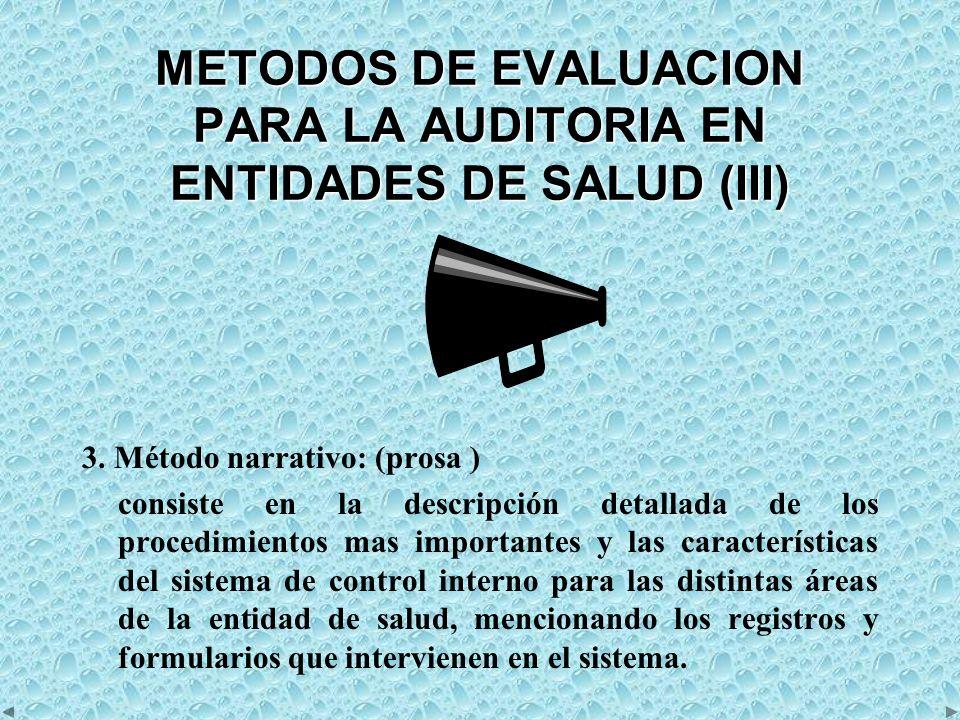 METODOS DE EVALUACION PARA LA AUDITORIA EN ENTIDADES DE SALUD (III)