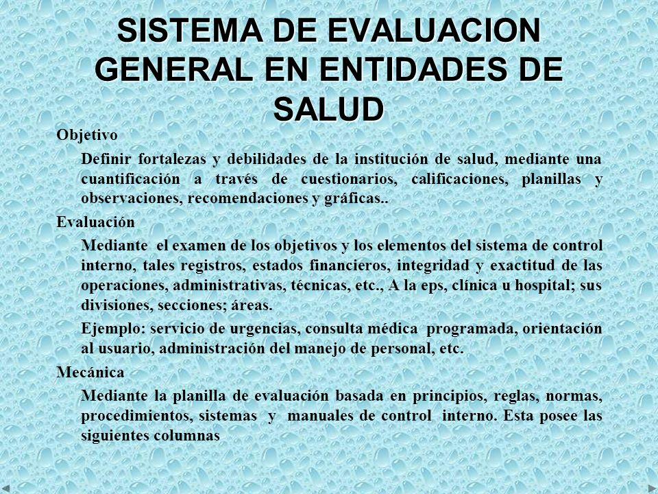 SISTEMA DE EVALUACION GENERAL EN ENTIDADES DE SALUD