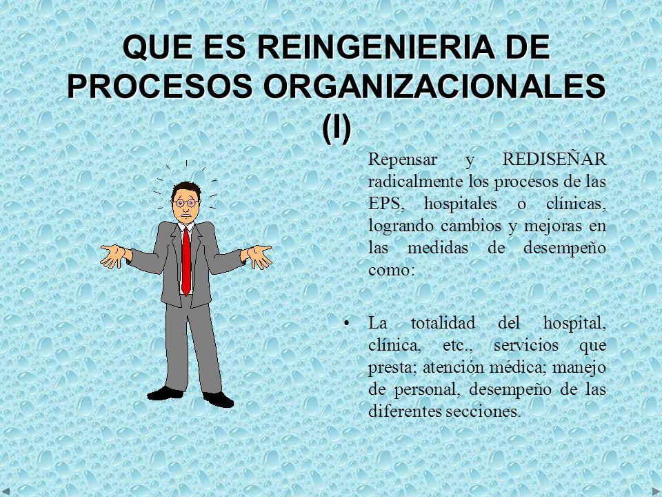 QUE ES REINGENIERIA DE PROCESOS ORGANIZACIONALES (I)