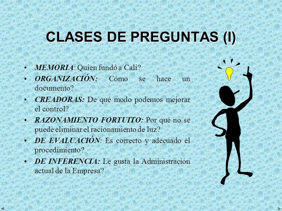 CLASES DE PREGUNTAS (I)