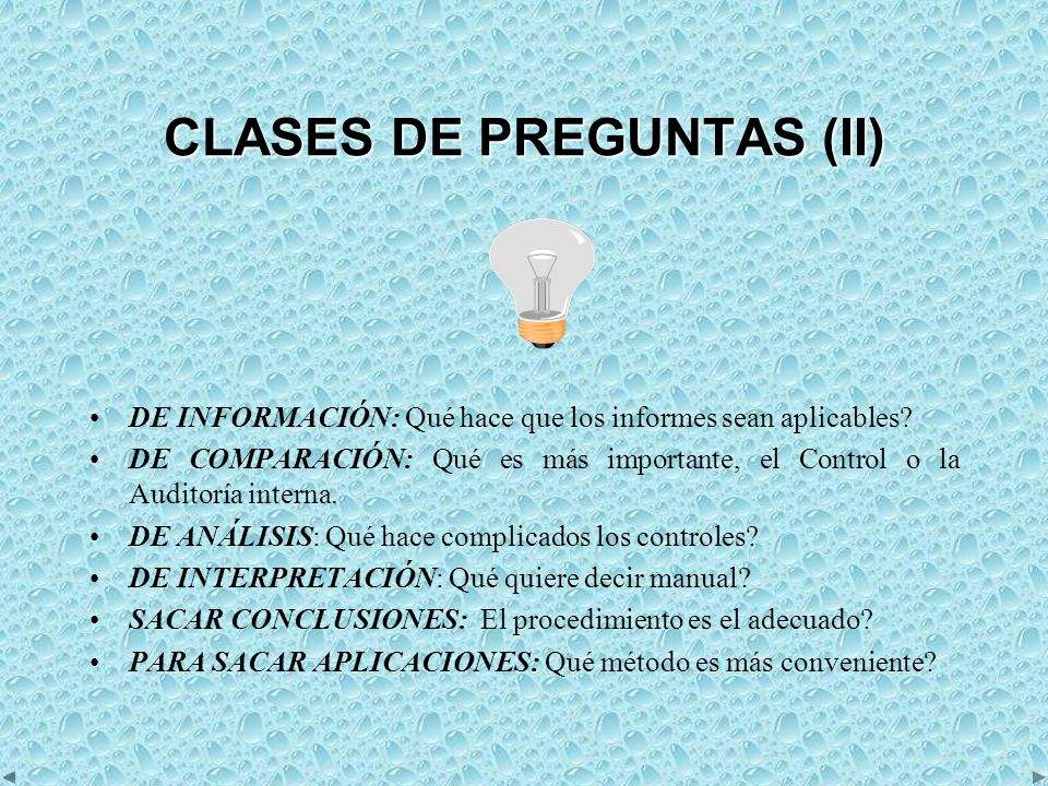 CLASES DE PREGUNTAS (II)