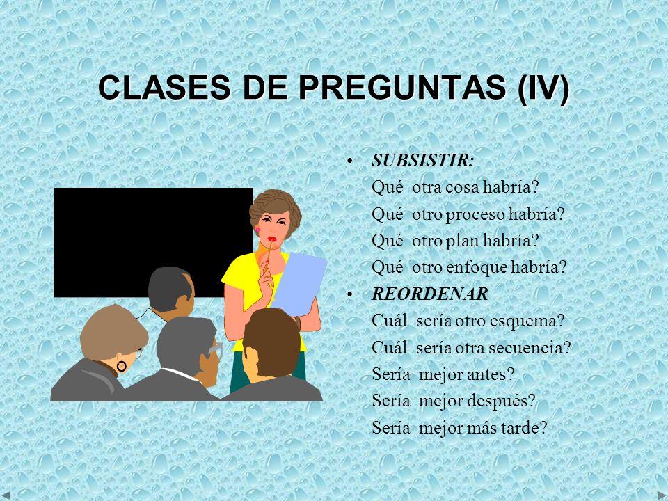 CLASES DE PREGUNTAS (IV)
