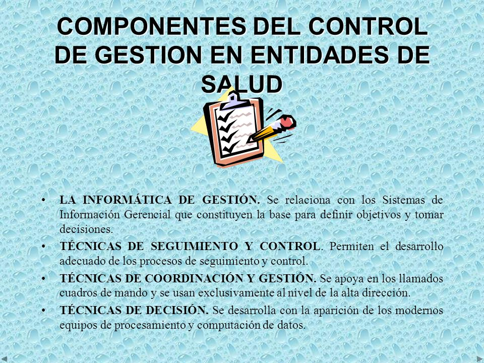 COMPONENTES DEL CONTROL DE GESTION EN ENTIDADES DE SALUD