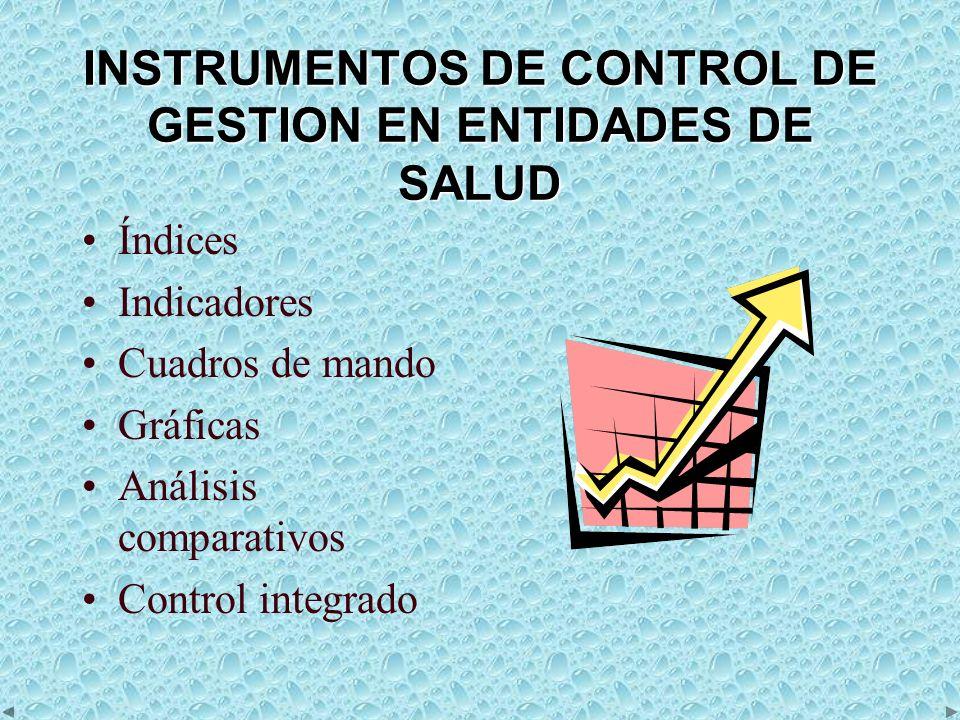 INSTRUMENTOS DE CONTROL DE GESTION EN ENTIDADES DE SALUD