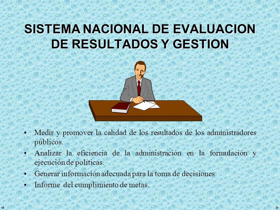 SISTEMA NACIONAL DE EVALUACION DE RESULTADOS Y GESTION