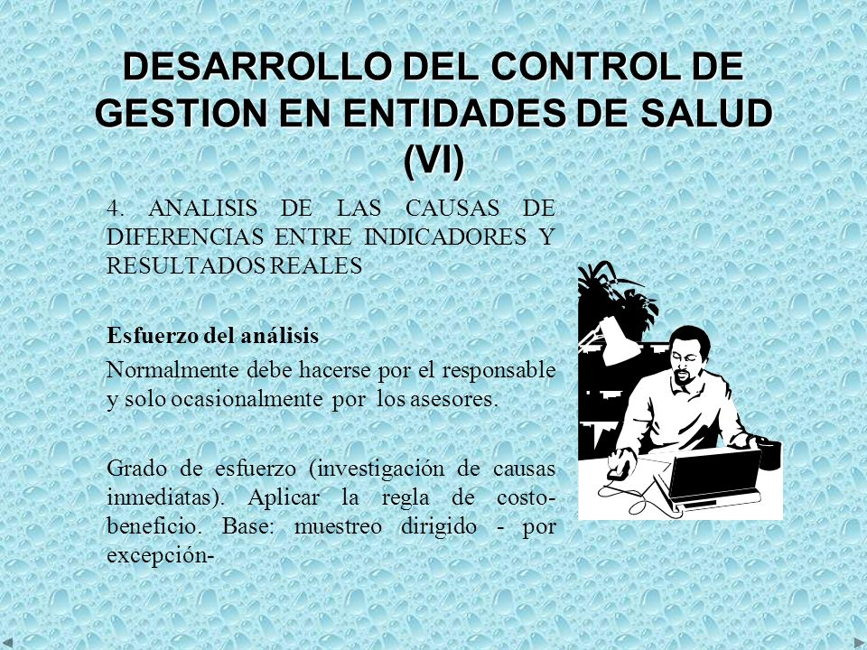 DESARROLLO DEL CONTROL DE GESTION EN ENTIDADES DE SALUD (VI)