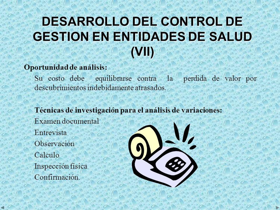 DESARROLLO DEL CONTROL DE GESTION EN ENTIDADES DE SALUD (VII)