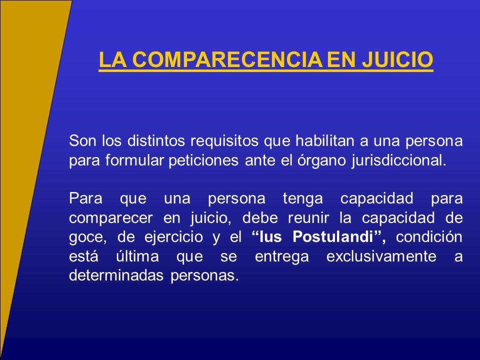 LA COMPARECENCIA EN JUICIO