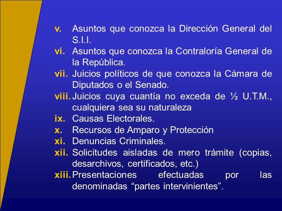 v. Asuntos que conozca la Dirección General del S.I.I.