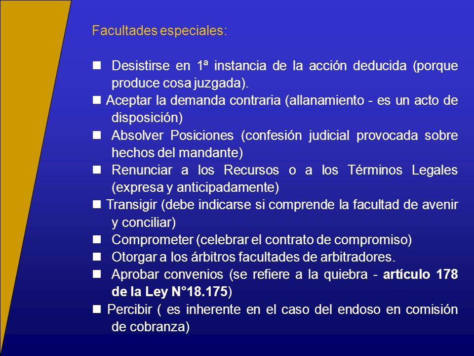 Facultades especiales: