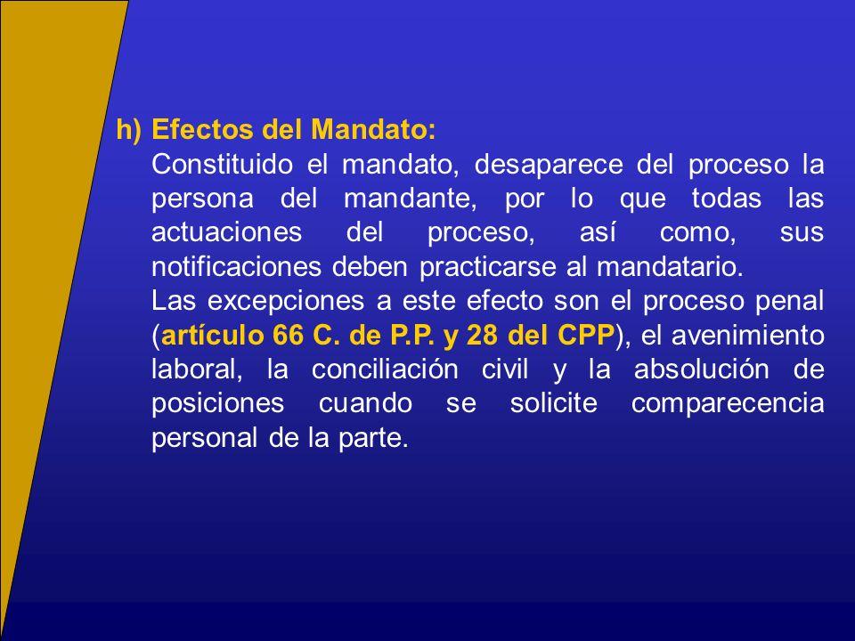 h) Efectos del Mandato: