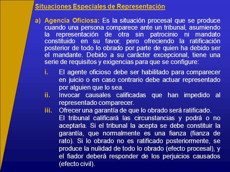 Situaciones Especiales de Representación