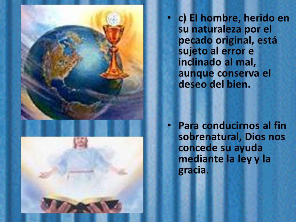 c) El hombre, herido en su naturaleza por el pecado original, está sujeto al error e inclinado al mal, aunque conserva el deseo del bien.