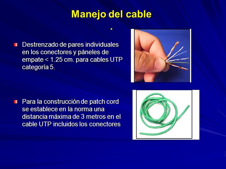 Manejo del cable . Destrenzado de pares individuales en los conectores y páneles de empate < 1.25 cm. para cables UTP categoría 5.