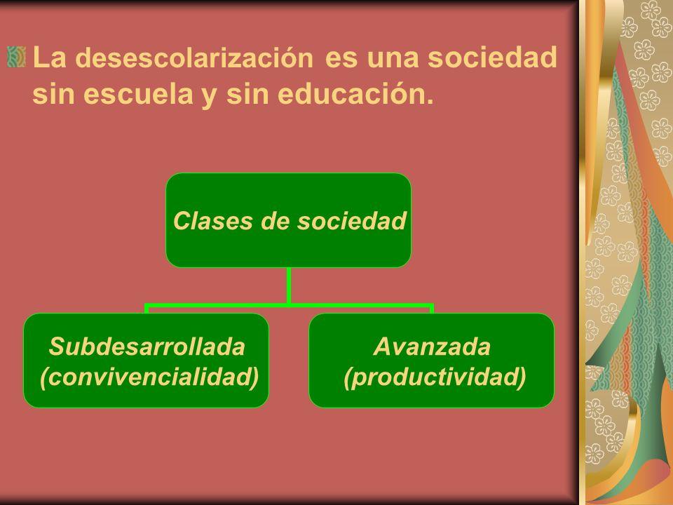 La desescolarización es una sociedad sin escuela y sin educación.
