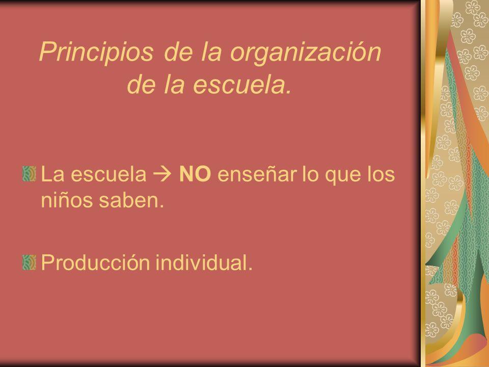 Principios de la organización de la escuela.