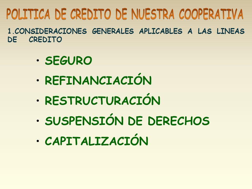 SUSPENSIÓN DE DERECHOS CAPITALIZACIÓN