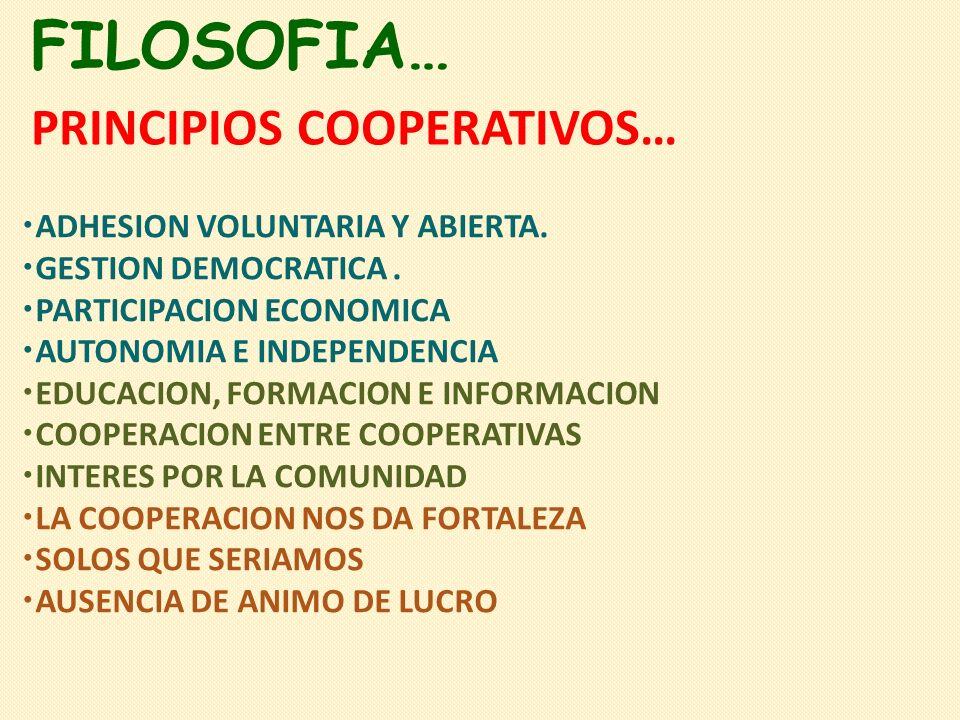 FILOSOFIA… PRINCIPIOS COOPERATIVOS… ADHESION VOLUNTARIA Y ABIERTA.