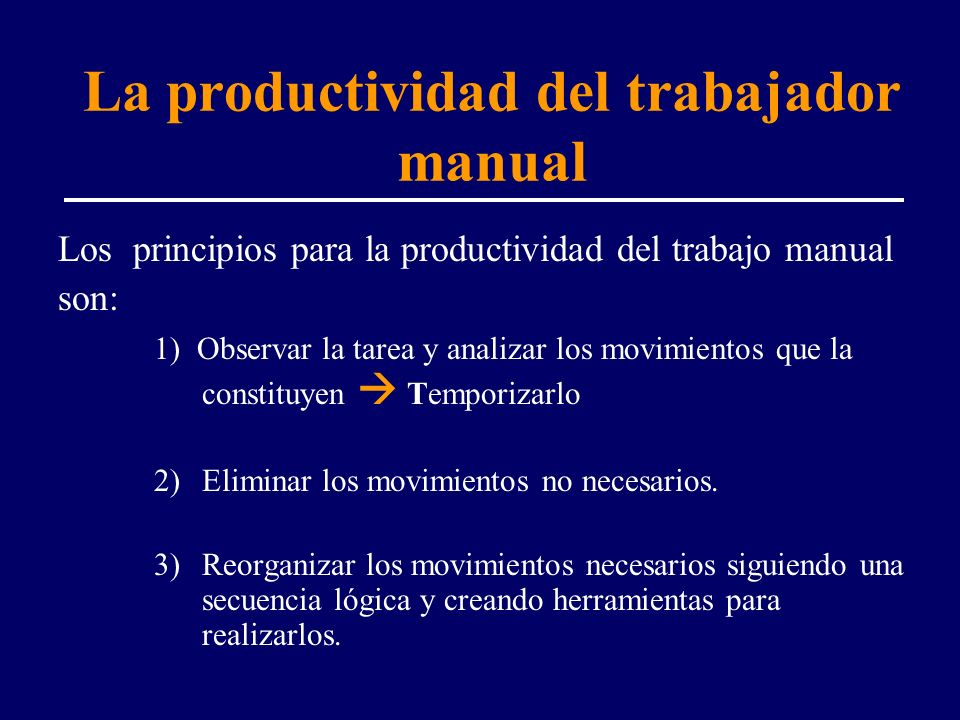 La productividad del trabajador manual