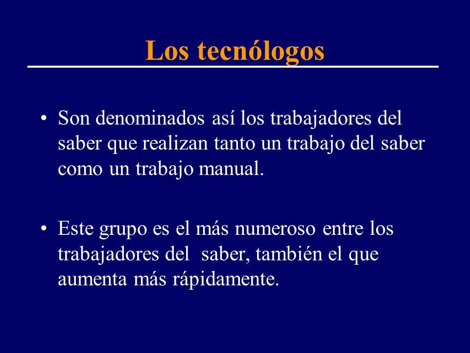 Los tecnólogos Son denominados así los trabajadores del saber que realizan tanto un trabajo del saber como un trabajo manual.