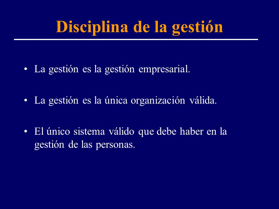 Disciplina de la gestión