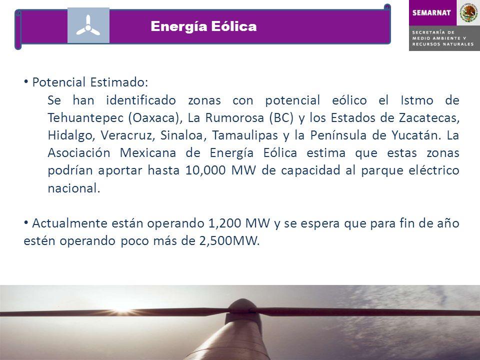 Energía Eólica Potencial Estimado: