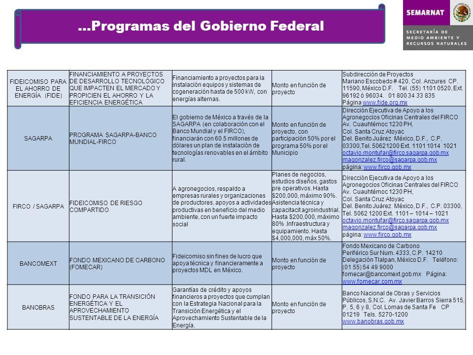 …Programas del Gobierno Federal