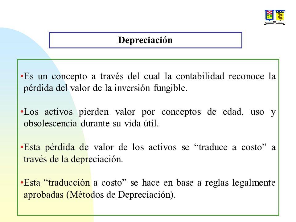 Depreciación Es un concepto a través del cual la contabilidad reconoce la pérdida del valor de la inversión fungible.