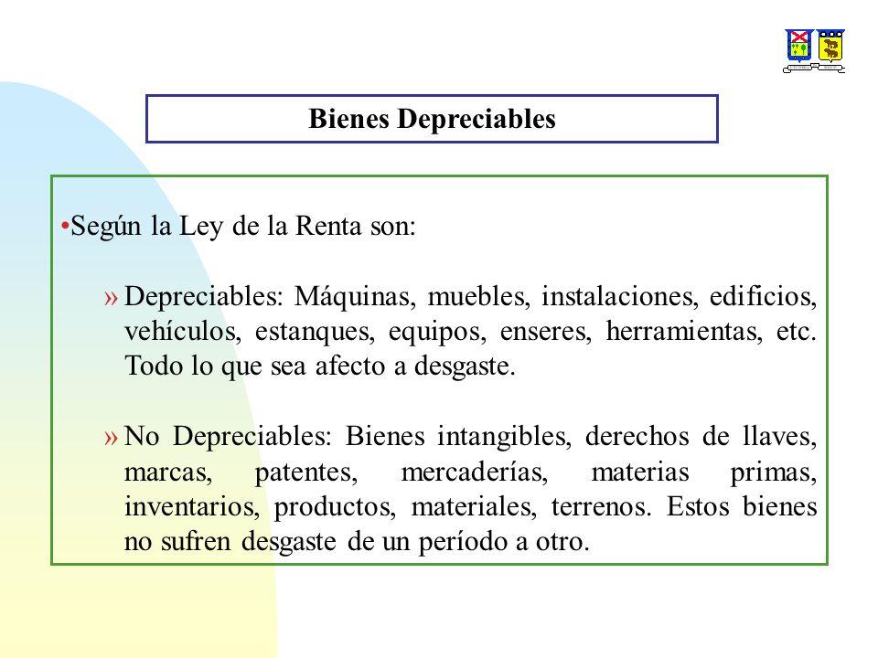 Bienes Depreciables Según la Ley de la Renta son: