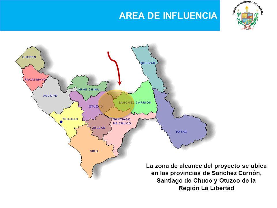 AREA DE INFLUENCIALa zona de alcance del proyecto se ubica en las provincias de Sanchez Carrión, Santiago de Chuco y Otuzco de la Región La Libertad.