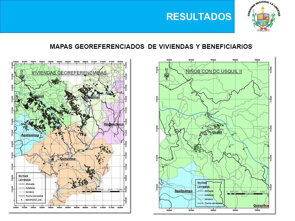 MAPAS GEOREFERENCIADOS DE VIVIENDAS Y BENEFICIARIOS
