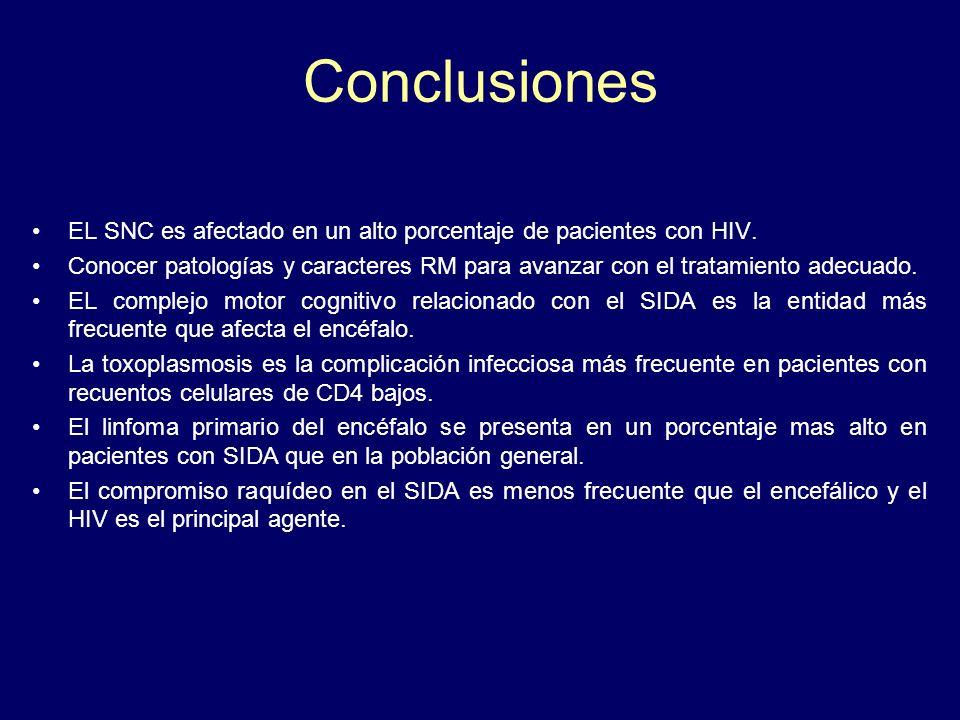 Conclusiones EL SNC es afectado en un alto porcentaje de pacientes con HIV.