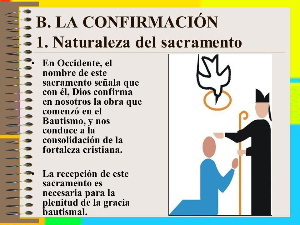 B. LA CONFIRMACIÓN 1. Naturaleza del sacramento