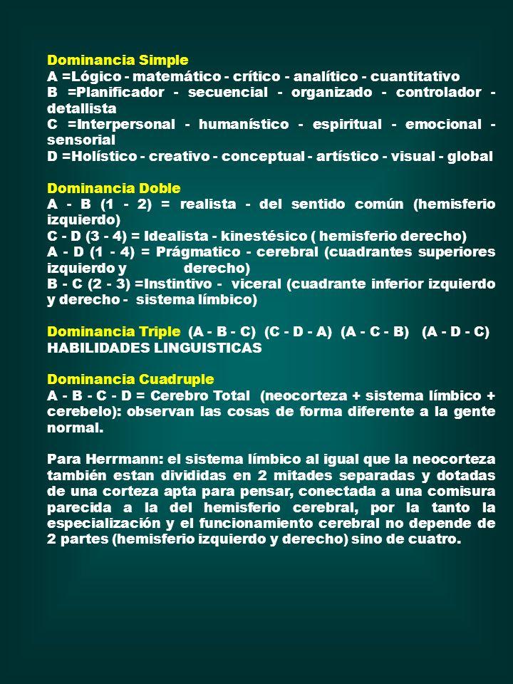 Dominancia Simple A =Lógico - matemático - crítico - analítico - cuantitativo. B =Planificador - secuencial - organizado - controlador - detallista.