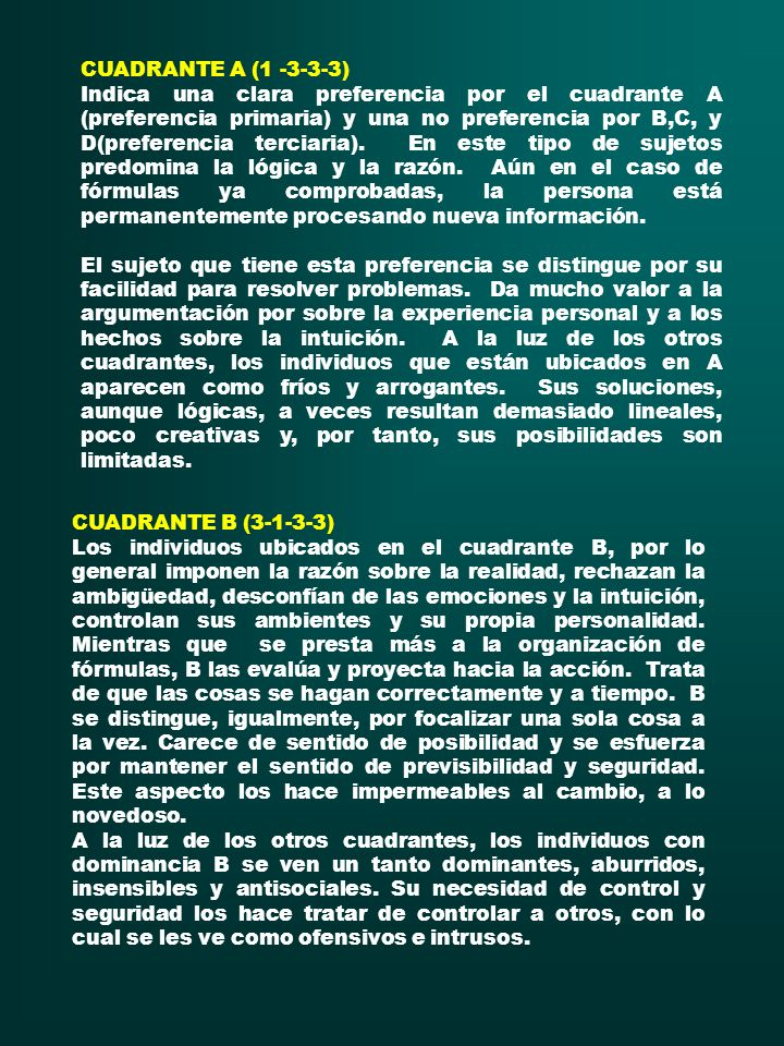 CUADRANTE A (1 -3-3-3)