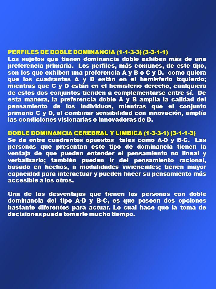 PERFILES DE DOBLE DOMINANCIA (1-1-3-3) (3-3-1-1)